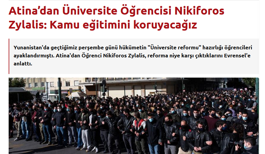 nKA: Interview about Greek anti-governmental struggles about education in Turkish newspaper Evrensel